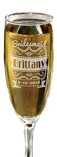 ONE Wedding Personalized Engraved Champagne Glass Bridesmaid Bride Maid of Honor Wedding Bachelorette Gift with First Name Wedding Title Wedding Date * You can get more details by clicking on the image.