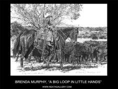 "Western Art by Brenda Murphy, ""A Big Loop in Little Hands"" Cowboy Art, Cowboy And Cowgirl, Little Cowboy, Western Art, Cowgirls, Cowboys, Westerns, Ranch, Moose Art"