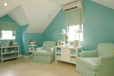 Pretty Turquoise Sitting Area of Bedroom...