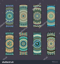 Banner Card Set With Floral Colorful Decorative Mandala Elements Background. Tribal,Ethnic,Indian, Islam, Arabic, Ottoman Motifs. Стоковая векторная иллюстрация 505320226 : Shutterstock