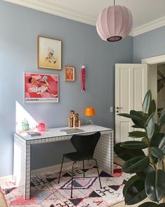 """A standard Ikea """"Malm"""" desk has had a stylish makeover with white mosaic tiles and black grout. Home Office Space, Home Office Design, Home Office Decor, Home Decor, Ikea Malm Desk, Room Inspiration, Interior Inspiration, Bright Apartment, Scandinavian Style Home"""