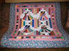 Fancy Sunbonnet Sue on Courthouse Steps Baby Quilt Top Homemade by Me 44x46   eBay