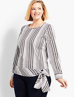 Shop Talbots for modern classic women's styles. You'll be a standout in our Poplin Side-Tie Top - Parlor Stripe - only at Talbots! Plus Size Summer Dresses, Plus Size Outfits, Plus Size Blouses, Plus Size Tops, Plus Size Fashion For Women, Plus Size Women, Tunic Designs, Kurti Designs Party Wear, Summer Blouses
