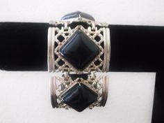 Vintage Retro Wide Bracelet Black Cabochon Silver Tone Lattice Link Statement Bracelet Jewelry by MemawsTopDrawer on Etsy
