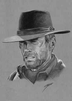 *m. Clint Eastwood as Will Munny from 'Unforgiven'. Black and white pencils on gray paper