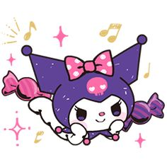 These adorable animated stickers feature the mischievous Kuromi all dressed up in her trademark black hood and pink skull. My Melody Sanrio, Gifs, Pink Skull, Cartoon Stickers, Hello Kitty Wallpaper, Tumblr, Line Sticker, Looks Cool, Cute Love