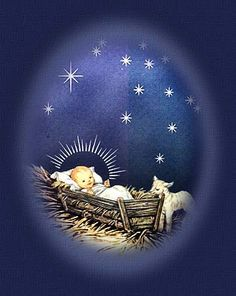 Away in a manger,  No crib for His bed,  The little Lord Jesus  Laid down His sweet head;  The stars in the heavens  Looked down where He lay,  The little Lord Jesus  Asleep on the hay.