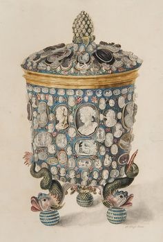 Cup-legged dolphins, decorated with cameos Watercolor Elligera and engraving, based on it, have Kept us Look Cup, donated by Peter I and Catherine Alekseevne in 1716 by the Danish King Frederick IV