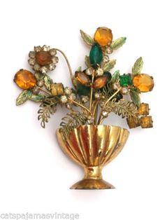 Vintage Signed Fashioncraft Robert Brooch Huge Filigree Floral Rhinestone 1940s | eBay