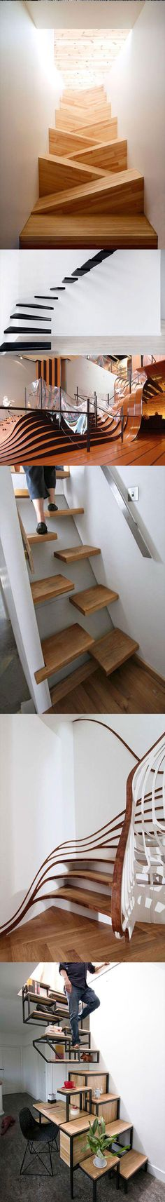 Amazing Stairs Designs. The first one is like an obstacle course and the last is just awesome.