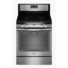 Whirlpool 5-Burner Freestanding 5.8-cu ft Self-Cleaning Convection Gas Range (Black-On-Stainless) (Common: 30-in; Actual: 29.875-in)