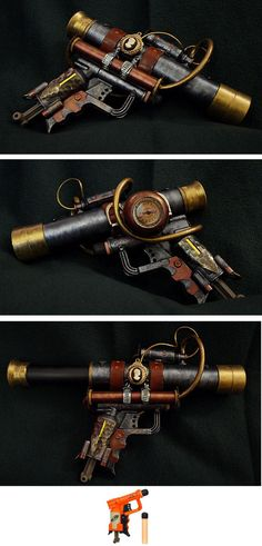 This Steampunk pistol was made from a Nerf N-Strike Jolt Blaster, the small image at the bottom, and a Toysmith Pirate Telescope. This pistol is the companion to my Steampunk Shot gun which I . Steampunk Pistol, Style Steampunk, Steampunk Gears, Steampunk Cosplay, Steampunk Design, Steampunk Fashion, Steampunk Boots, Steampunk Pirate, Steampunk Necklace