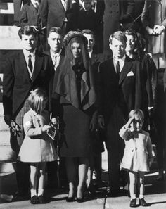 Members of the Kennedy family at the funeral of assassinated president John F Kennedy in 1963. From left: Edward Kennedy, Caroline Kennedy (aged 6), Jacqueline Kennedy, Robert Kennedy and John Kennedy Jr