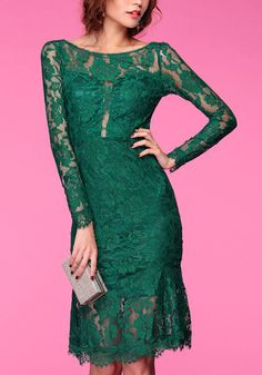 Green Lace Sheath Dress- With Semi-sheer Long Sleeves