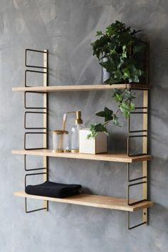 Adjustable Brass & Wood Wall Shelf from . - Adjustable Brass & Wood Wall Shelf from Rockett St George – # - Wall Shelf Unit, Kitchen Wall Shelves, Wooden Wall Shelves, Wooden Walls, Wall Wood, Brass Shelving, Shelving Units, Wood Shelf, Ikea Wall Shelves
