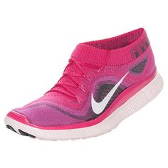 Nike Free Flyknit+ Running Shoes Fireberry Pink White 615806-610 Size 8 US Rare #Nike #RunningCrossTraining