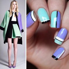 Pastel blue and Purple nail art design. The simple and minimalist design help highlight both colors on the nails. The bold black lines also make it look like the nails have different volumes on them.