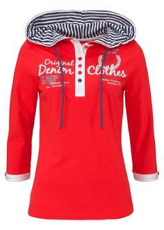 Blusa henley com capuz morango encomendar agora na loja on-line bonprix.de  R$ 64,90 a partir de Esta blusa confortável, cheia de detalhes é a parceira ...