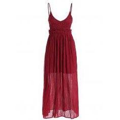 trendsgal.com - Trendsgal Spaghetti Strap Plunge Neck Maxi Chiffon Dress - AdoreWe.com