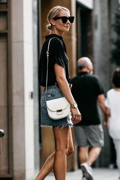 Blonde Woman Wearing Everlane Black Short Sleeve Shirt Topshop Ripped Denim Skirt Outfit Gucci Marmont Belt Celine Trotteur White Handbag Fashion Jackson Dallas Blogger Fashion Blogger Street Style
