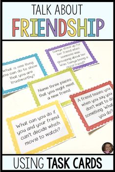 Friendship Task Cards — Counselor Chelsey Friendship Task Cards — Counselor Chelsey,stuff I'll probably never make counseling social work emotional learning skills character Social Skills Lessons, Social Skills For Kids, Social Skills Activities, Counseling Activities, Life Skills, Group Counseling, Coping Skills, Shape Activities, Friendship Lessons