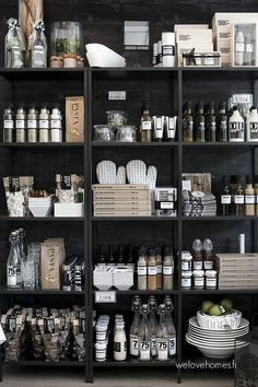 pantry shelving and wall covering idea Kitchen Organization Pantry, Home Organisation, Kitchen Pantry Design, Interior Design Kitchen, Interior Design Living Room, Living Room Decor, Pantry Shelving, Home And Deco, Kitchen Colors