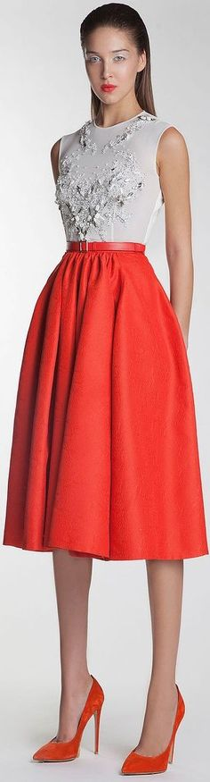 @roressclothes clothing ideas #women fashion red skirt, white top Basil Soda SS 2014