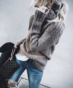 summer outfits Grey Knit + Destroyed Skinny Jeans