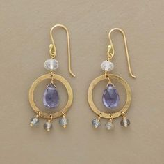 Caged Bird Earrings by Polly Hart, Sundance. Iolite and Moonstone. Love these.