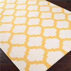 Ironwork Trellis Dhurrie Rug: 6 Colors   (Ivory/Sunflower Yellow)