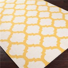 Ironwork Trellis Dhurrie Rug: 6 Colors   (Ivory/Sunflower Yellow)
