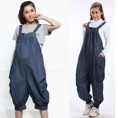 9cf00cecbe01 2013 New Summer Autumn Fashion Cotton Denim Maternity Bib Pants Casual Jeans  Capris Pregnant Women Overalls