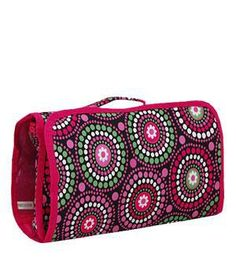 Swirl Dot Colorful Roll-up Cosmetic/Jewelry Bag. There are three compartments inside - plenty of room to hold all of your makeup and/or jewelry. Get it now at Jourdan's Jewels for just $12 and don't forget the matching duffle bag!