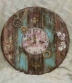 Новости let's paint it clock craft, diy clock и clock art Clock Craft, Diy Clock, Diy Wood Projects, Wood Crafts, Diy And Crafts, Decoupage Art, Graphic 45, Fabric Painting, Altered Art