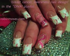breast cancer awareness nail art  http://www.youtube.com/watch?v=TbEpevUQZ88 check out www.ThePolishObsessed.com for more nail art ideas.