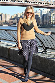 Tan Sweater + Navy Polka Dot Skirt