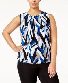 Calvin Klein Plus Size Abstract-Print Shell - Blue 3X