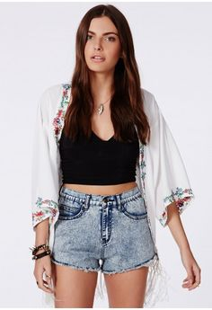 Missguided - Nicole Blue Acid Wash High Waisted Denim Shorts - Campaign