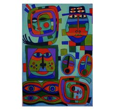 SALE Hunting Hundertwassers Original Painting by PegBessie on Etsy, £45.00