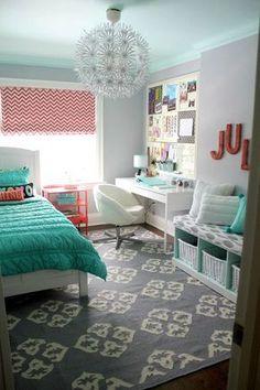decoração quarto adolescente - quarto clean- inspiração quarto de adolescente - decoração turqueza e coral: