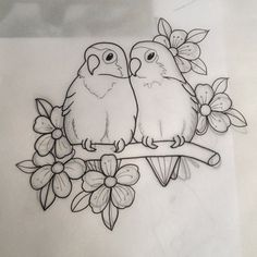 New Snap Shots Fabric painting animals Style , Art Drawings Sketches Simple, Pencil Art Drawings, Bird Drawings, Easy Drawings, Sketch Drawing, Love Birds Drawing, Bird Sketch, Drawings To Trace, Drawing Ideas