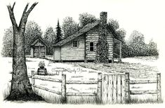 Log cabin print country cabin landscape cabins pen and   Etsy Landscape Pencil Drawings, Landscape Sketch, Pencil Art Drawings, Landscape Art, Flower Drawings, Barn Drawing, Stone Chimney, Old Cabins, Pencil Drawing Tutorials