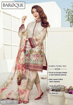 BAROQUE Luxury Eleni Embroidered Summer Lawn Collection Replica Fabric: Lawn Embroidered Lawn Shirt Front Lawn Shirt Back Lawn Sleeves Chiffon Dupatta Embroidered Lawn Trousers Included Pakistani Lawn Suits, Pakistani Formal Dresses, Pakistani Fashion Casual, Pakistani Dress Design, Pakistani Outfits, Indian Outfits, Indian Fashion, Emo Outfits, Muslim Fashion