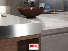 Simple Stainless steel counter top matched with ceramic in Alno us Grigio