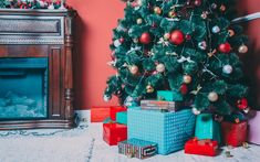 Download wallpapers Christmas tree, New Year, mountain of gifts, interior, fireplace, Christmas
