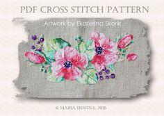 Watercolor Flowers PDF cross stitch от LittleRoomInTheAttic