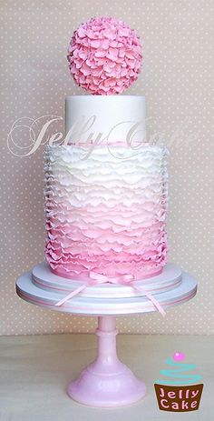 Ombre Frills Wedding Cake by www.jellycake.co.uk, via Flickr
