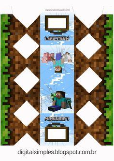 "Convites Digitais Simples: Festa Aniversário Digital ""Minecraft"" para Imprimir"