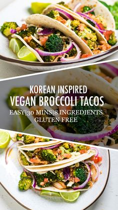 Korean Inspired Vegan Broccoli Tacos need just 8 ingredients and only 30 minutes to make. A zero waste vegan recipe that's a hit for all! Can be Top 8 Allergen Friendly. Vegetarian Tacos, Vegan Tacos, Vegetarian Recipes, Diet Recipes, Tacos And Burritos, Low Sodium Soy Sauce, Mexican Food Recipes, Ethnic Recipes, Vegan Main Dishes