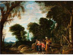 """VERSTOSSUNG DER HAGAR in Bewaldeter Landschaft Öl auf Holz. 49,5 x 66 cm. Verso auf der Tafel altes Etikett mit der Bezeichnung """"NO19./ AD.Eltzheimer""""...."""